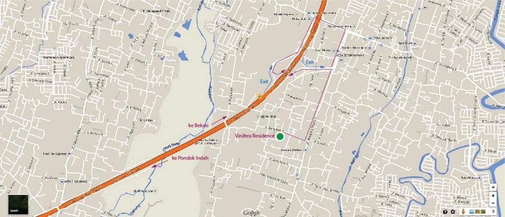 Peta menuju Vinivera Residence