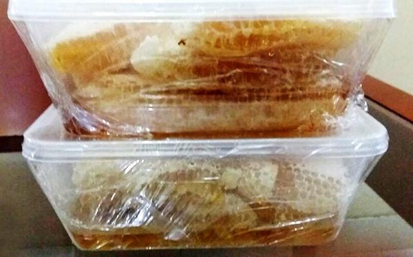 Madu Sarang dikemas dalam kotak plastik siap dikonsumsi.